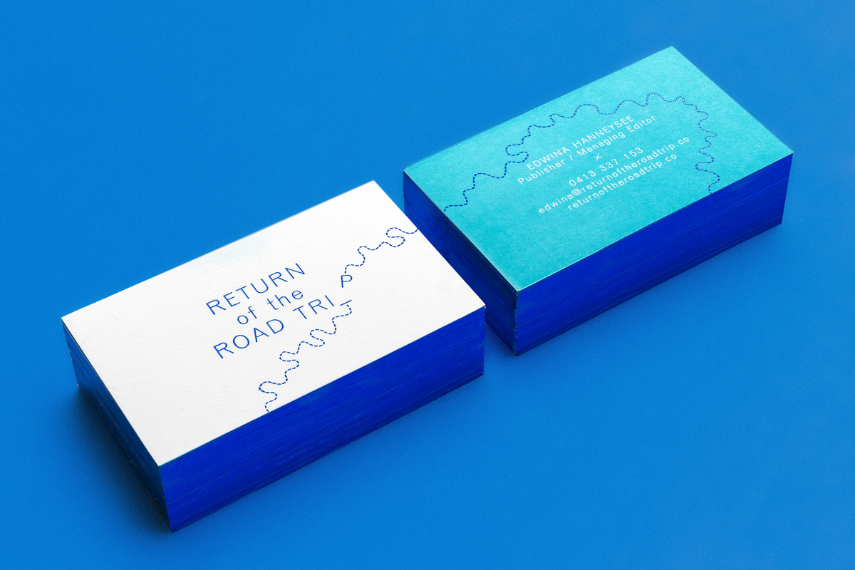 Return Of The Roadtrip business cards with cobalt foiling and edge gilding.